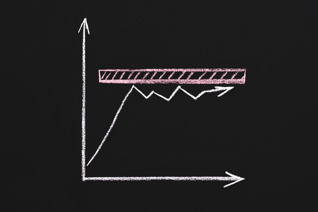 停滞していることを表す折れ線グラフ